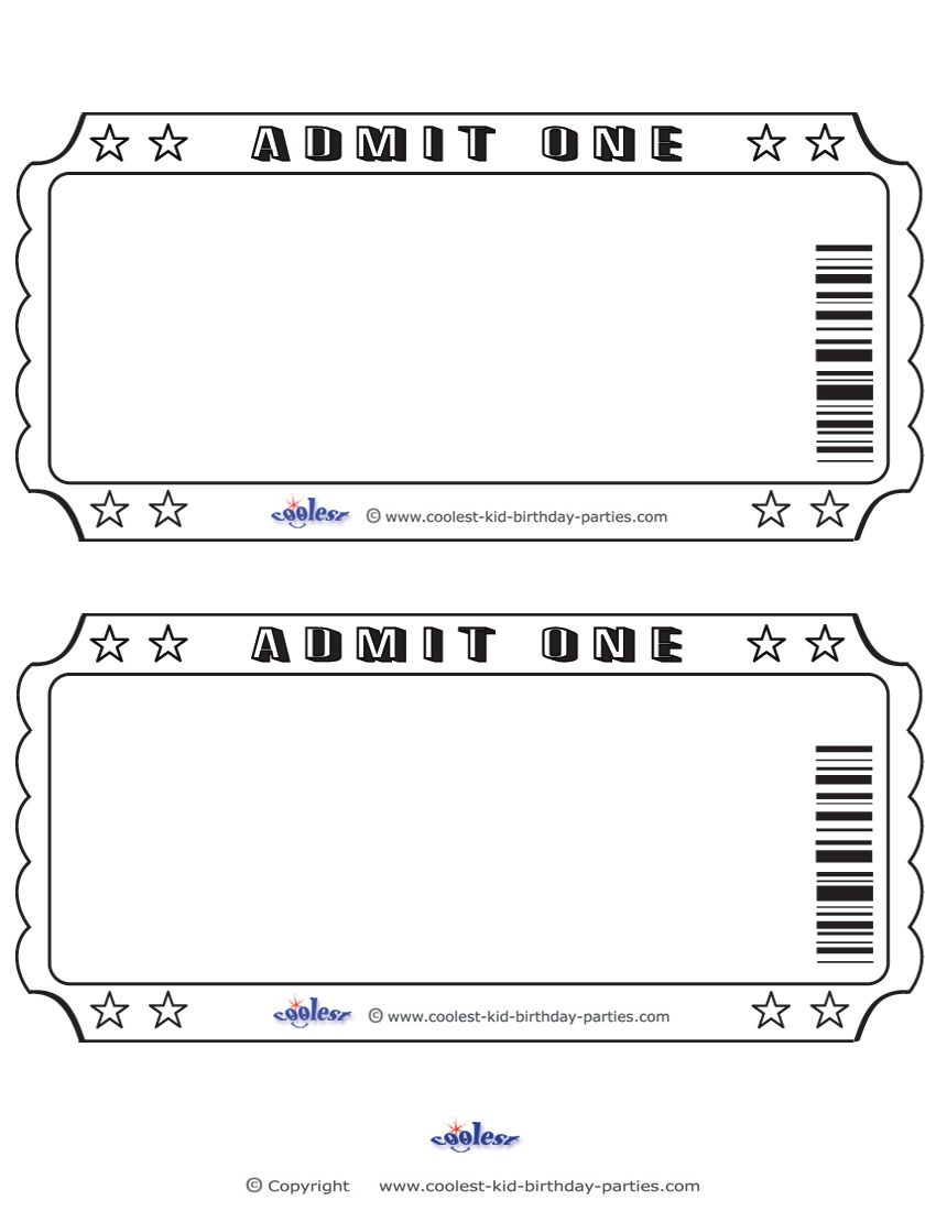 Blank Printable Admit One Invitations Coolest Free Regarding Blank Admission Ticket Template