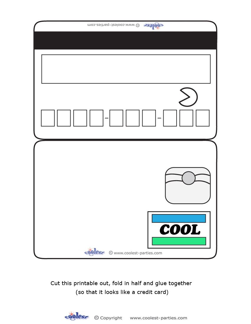 Blank Printable Cool Credit Card Invitations For A Mall With Regard To Credit Card Template For Kids