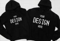 Blank Two Black Hoodies Mockup Fashion Styled for Blank Black Hoodie Template