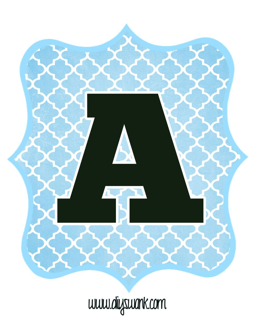 Blue And Black Printable Letters For Banners | Free Within Christening Banner Template Free