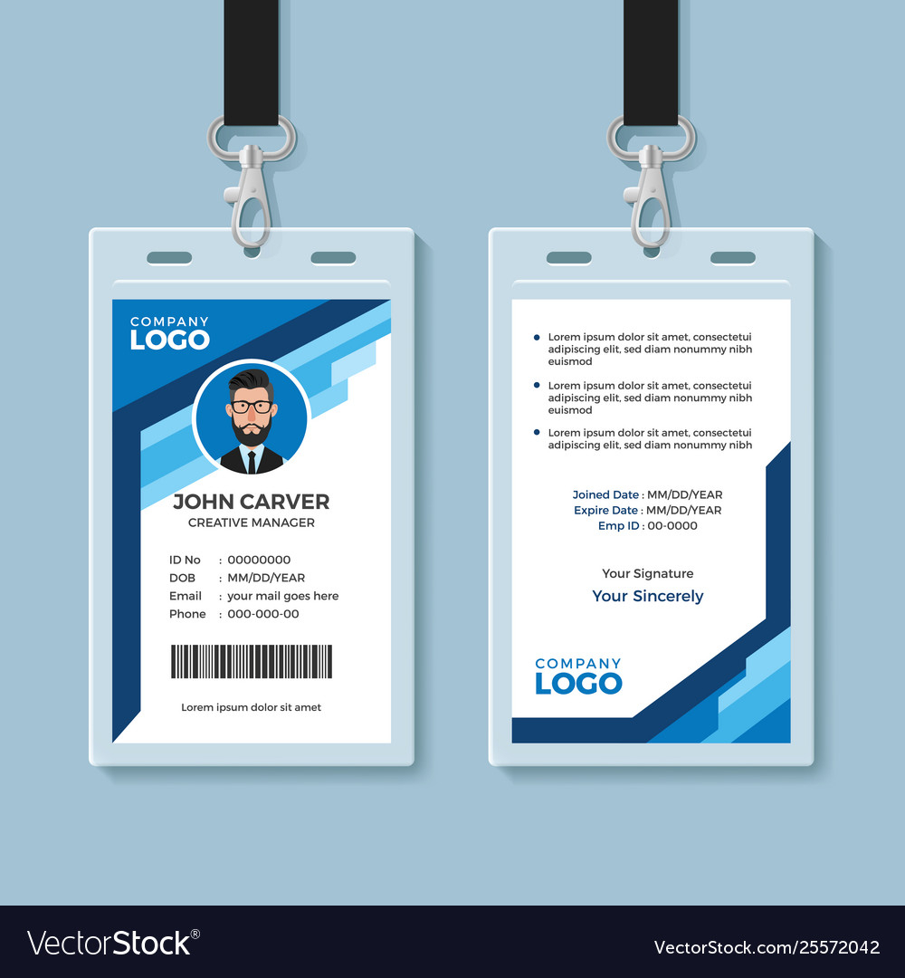 Blue Graphic Employee Id Card Template Pertaining To Work Id Card Template