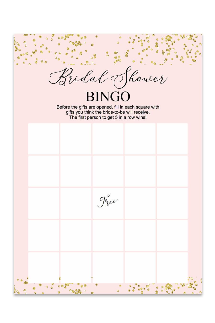 Blush And Confetti Bridal Shower Bingo – Chicfetti Pertaining To Blank Bridal Shower Bingo Template