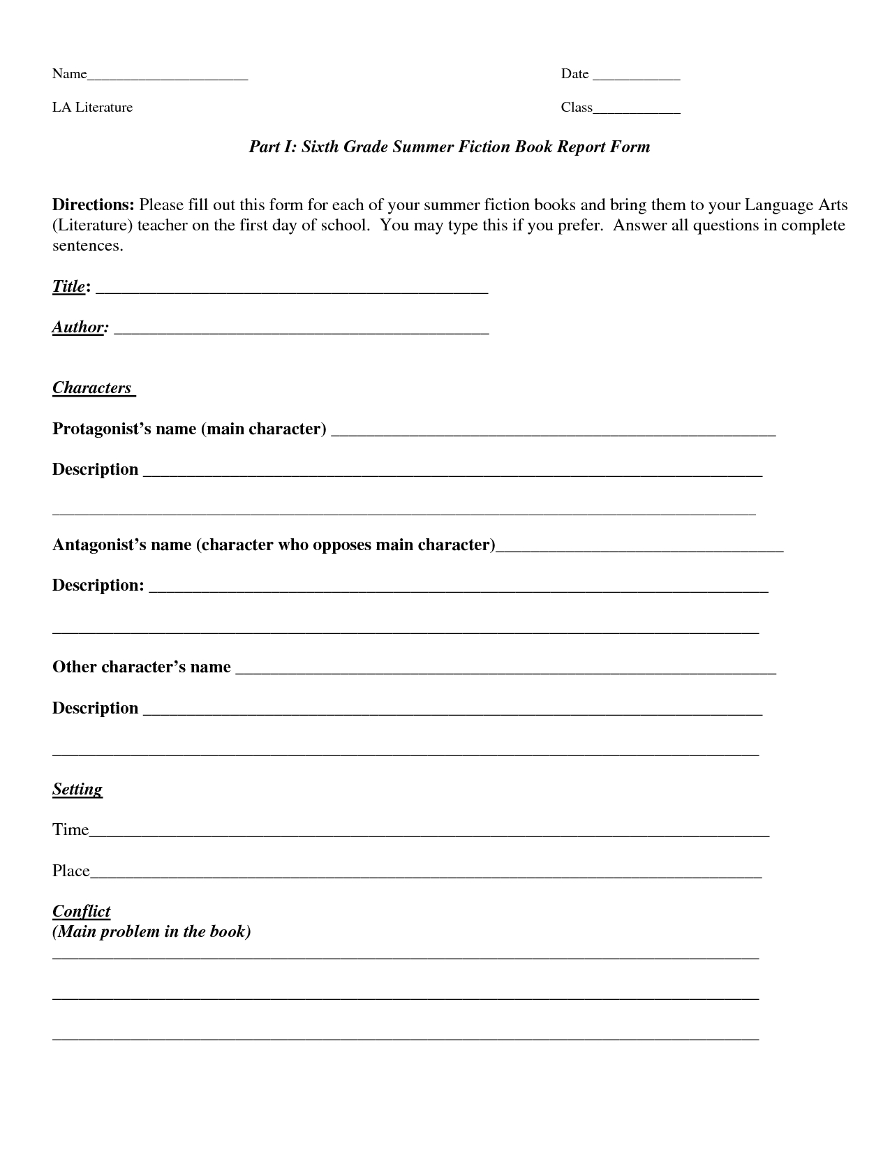 Book Report Template | Part I Sixth Grade Summer Fiction Pertaining To Book Report Template 6Th Grade