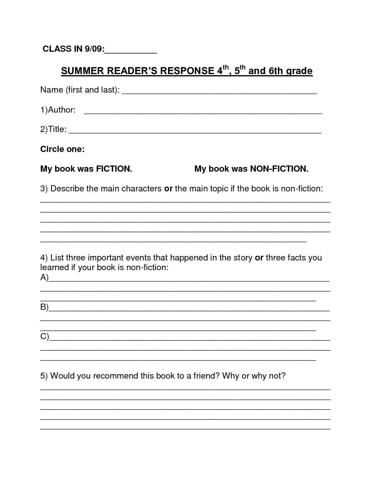 Book Report Template   Summer Book Report 4Th  6Th Grade Inside Book Report Template 4Th Grade