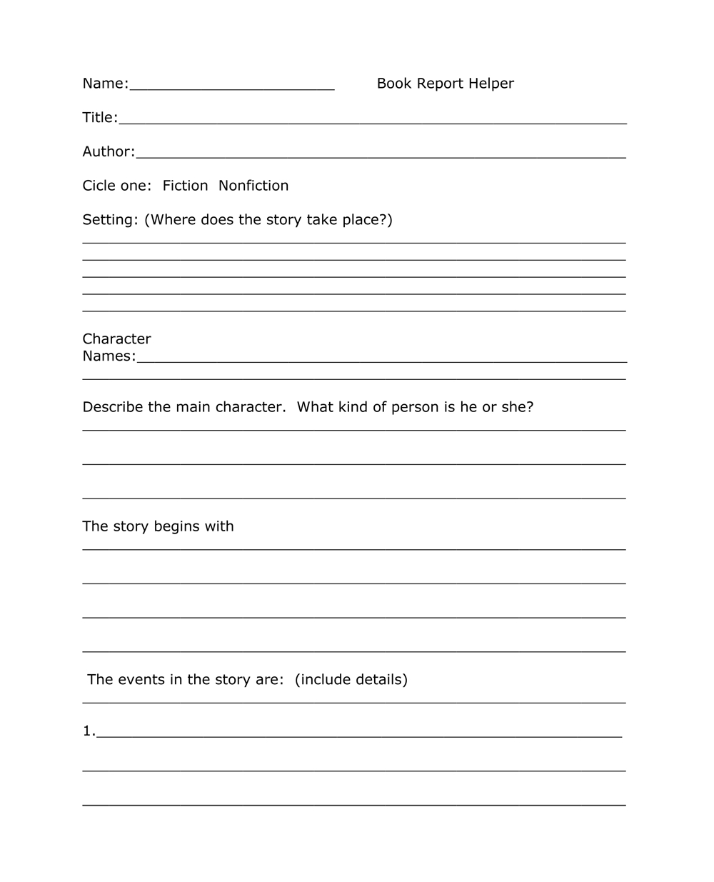 Book Report Templates From Custom Writing Service In One Page Book Report Template