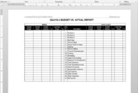 Budget Vs Actual Report Template | G&a104-5 in Sales Trip Report Template Word