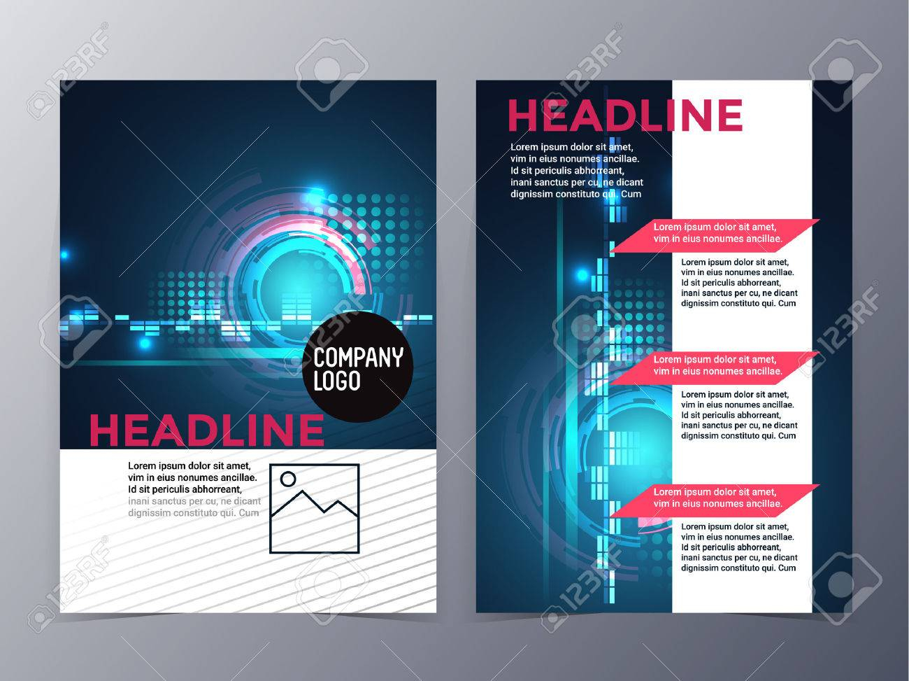 Business And Technology Brochure Design Template Vector Tri Fold.. In Technical Brochure Template