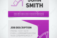 Business Card Print Template With High Heel Shoe Logo. Manager within High Heel Template For Cards