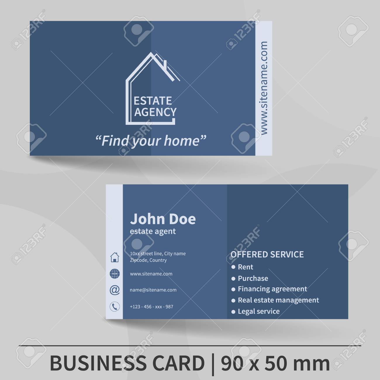 Business Card Template. Real Estate Agency. Design For Your Individual.. Regarding Real Estate Agent Business Card Template