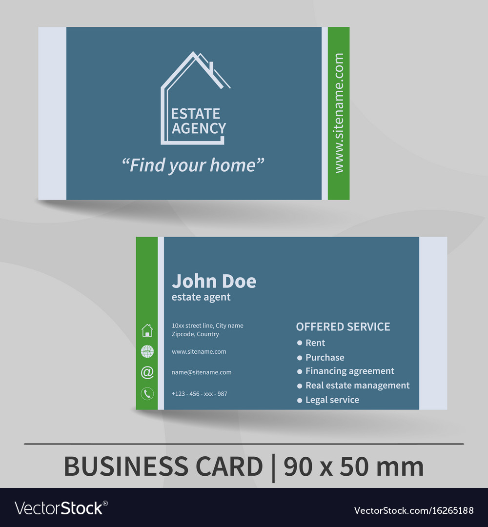Business Card Template Real Estate Agency Design With Real Estate Agent Business Card Template