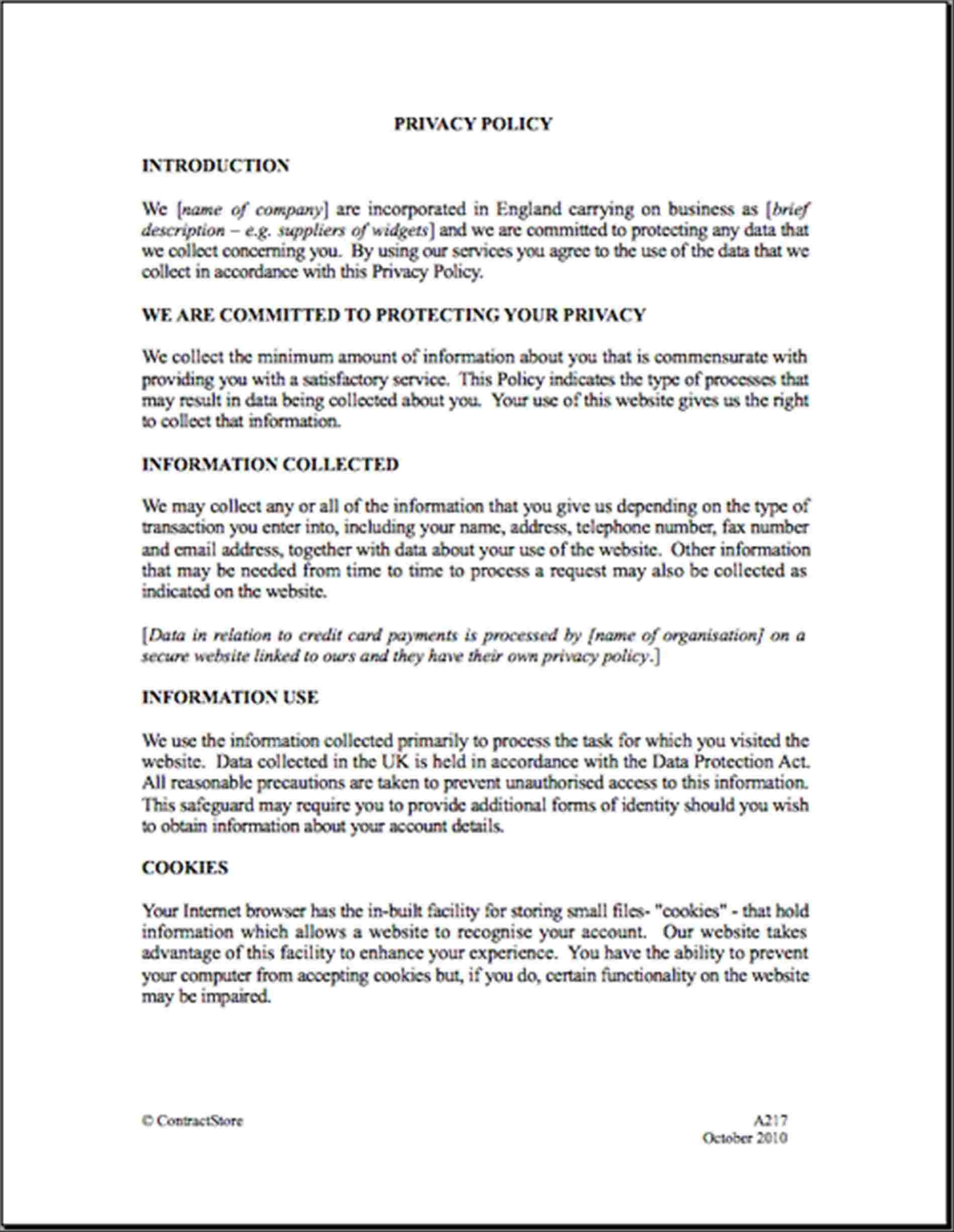 Business Credit Card Use Policy Template Sample Usage Inside Credit Card Privacy Policy Template