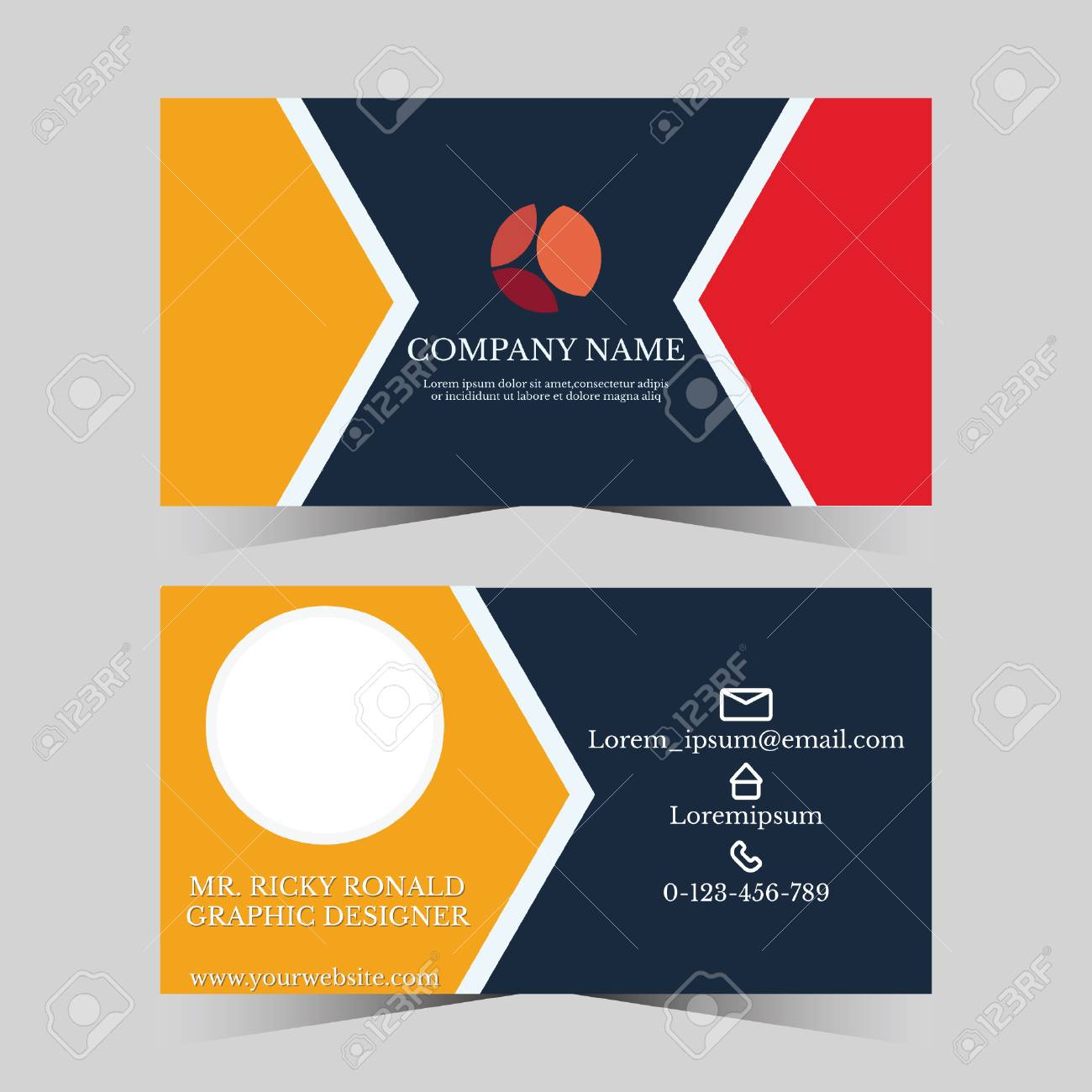 Calling Card Template For Business Man With Geometric Design In Template For Calling Card