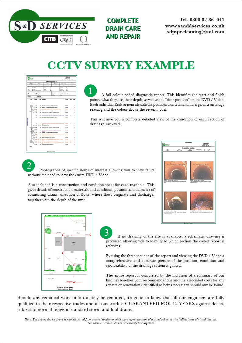 Cctv Surveying – S & D Plumbing And Drainage, Somerset Throughout Drainage Report Template