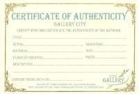 Certificate Authenticity Template Art Authenticity in Art Certificate Template Free