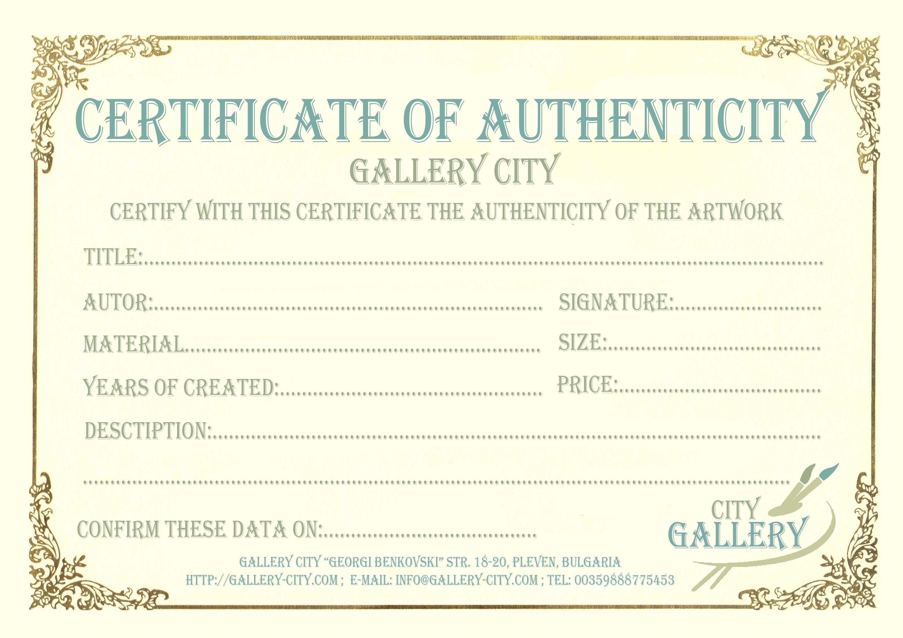 Certificate Authenticity Template Art Authenticity Regarding Photography Certificate Of Authenticity Template