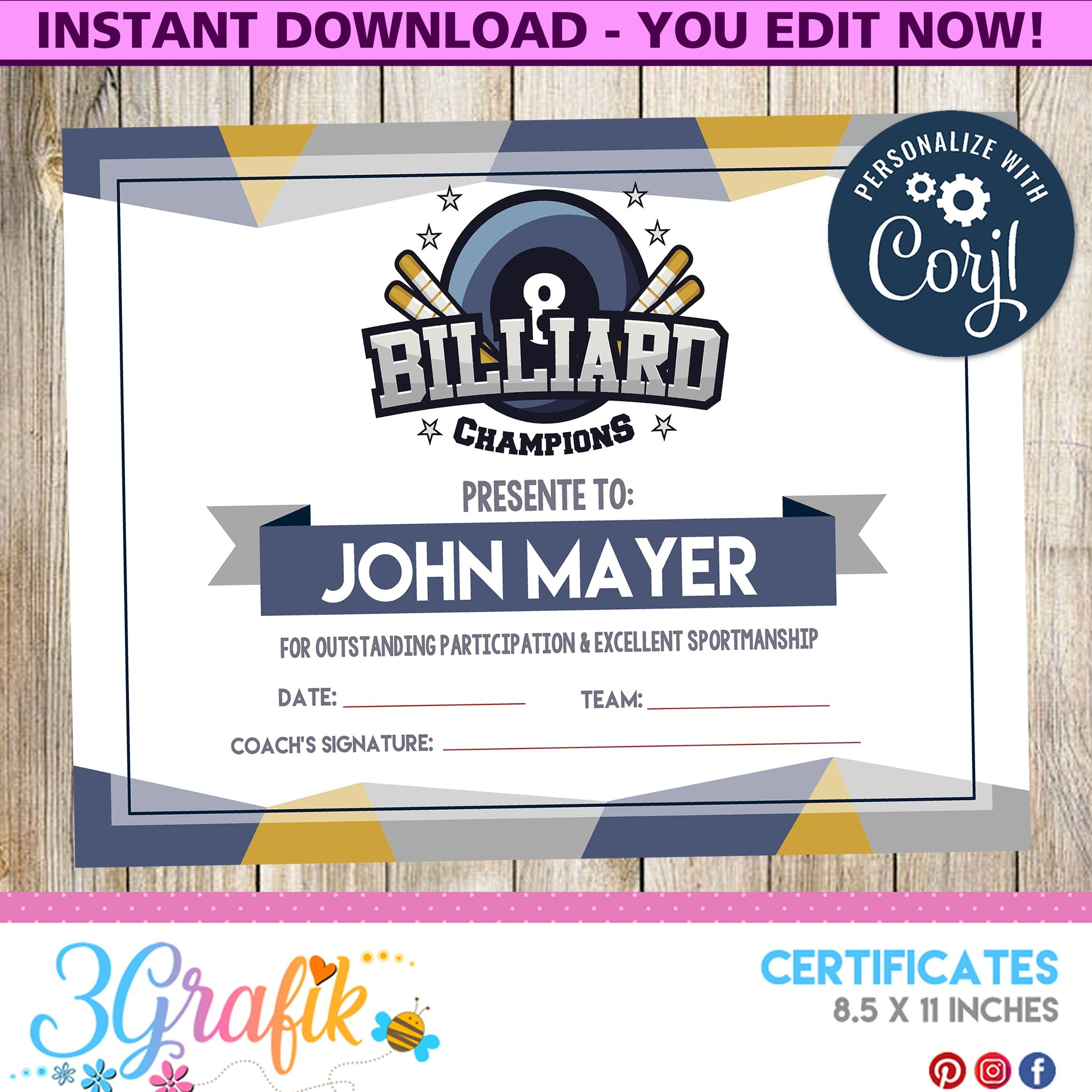 Certificate Billiard , Certificate, Billiard , Billiard Within Swimming Certificate Templates Free