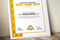 Certificate Design Template For Best Chef Fast Food And Restaurant  Certificate Template for Design A Certificate Template
