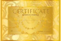Certificate, Diploma (Golden Design Template, Colorful Background).. pertaining to Certificate Scroll Template