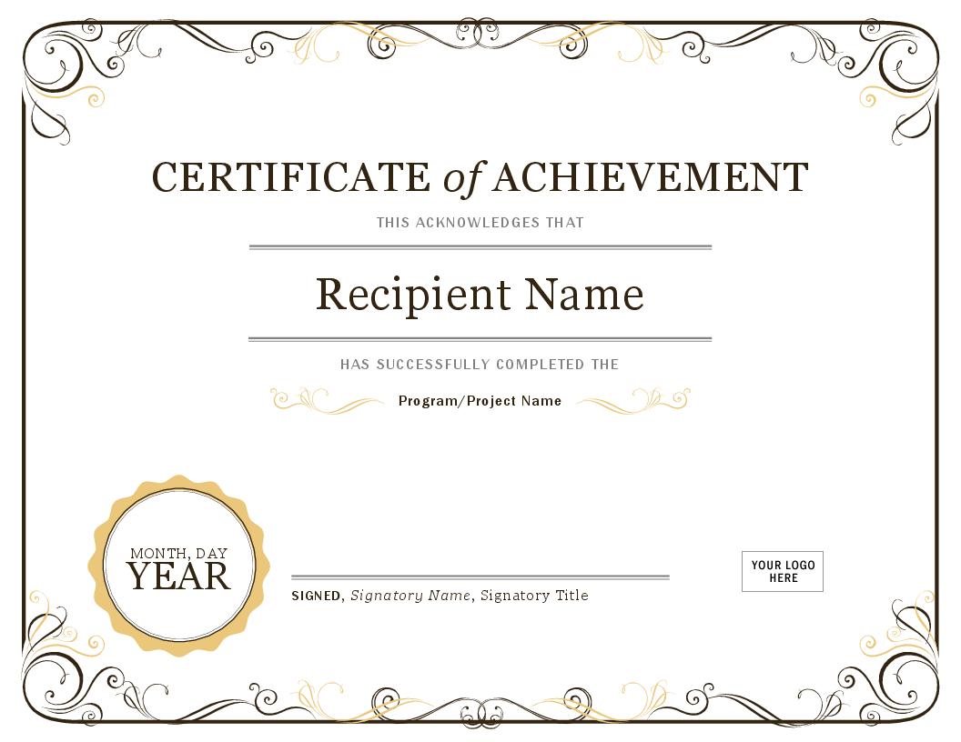 Certificate Of Achievement Inside Scholarship Certificate Template Word