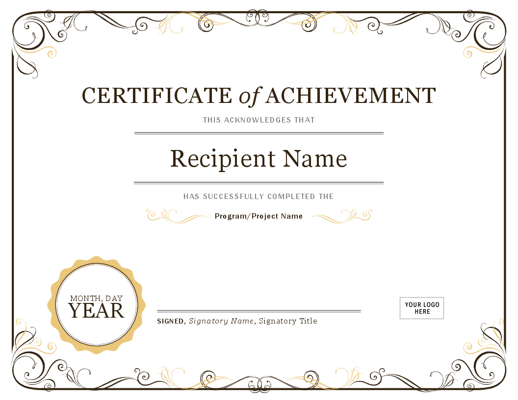 Certificate Of Achievement Intended For Certificate Of Accomplishment Template Free