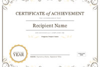 Certificate Of Achievement regarding Certificate Of Recognition Word Template