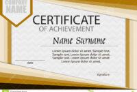 Certificate Of Achievement Template. Horizontal. Stock throughout Certificate Of Attainment Template