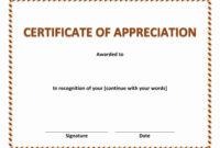 Certificate Of Appreciation In Certificate Appreciation throughout Template For Certificate Of Appreciation In Microsoft Word