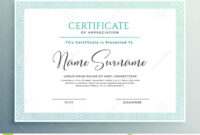 Certificate Of Appreciation Template Design Stock Vector intended for Qualification Certificate Template