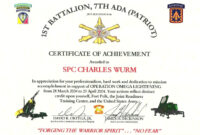 Certificate Of Appreciation Template Us Army intended for Army Certificate Of Achievement Template