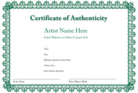 Certificate Of Authenticity Of An Art Print In 2019 with regard to Blank Adoption Certificate Template