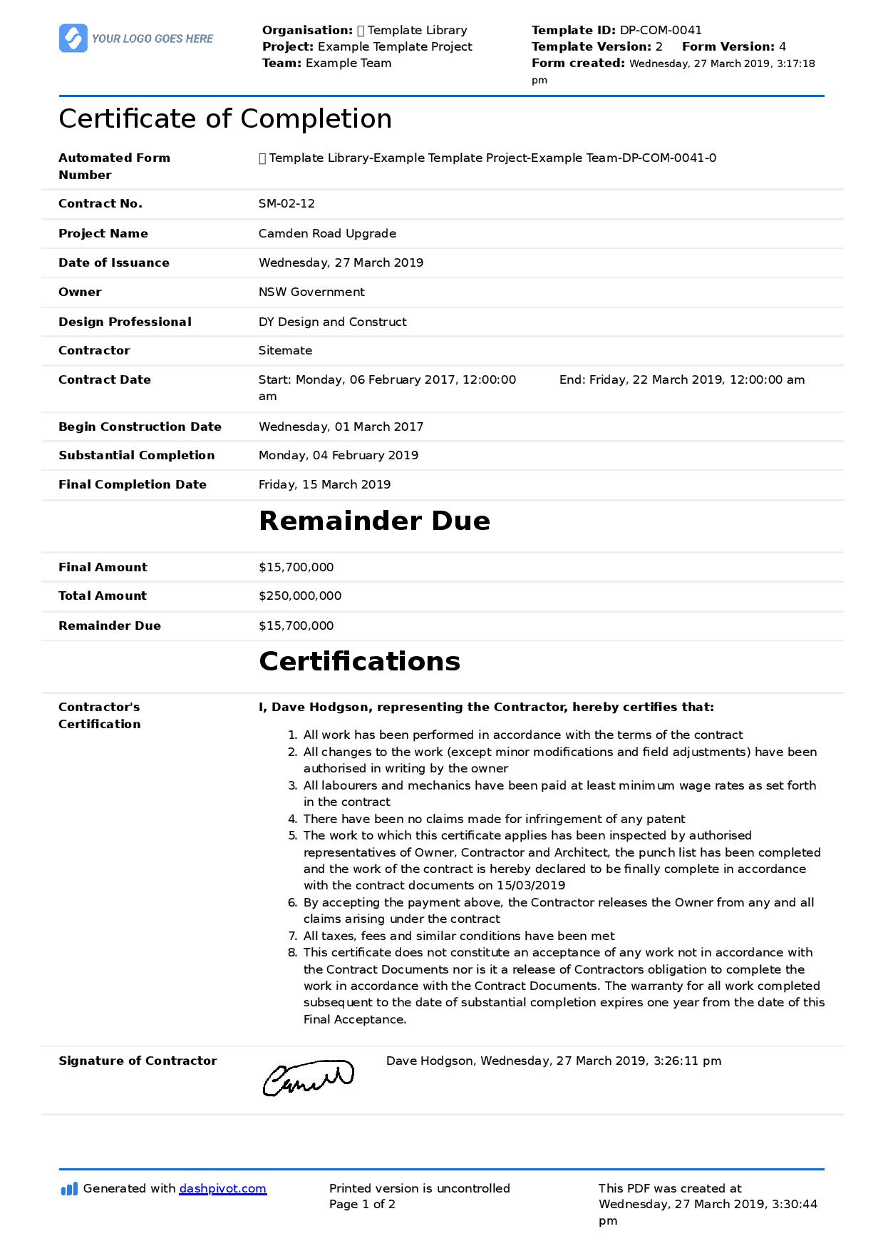 Certificate Of Completion For Construction (Free Template + Within Construction Certificate Of Completion Template