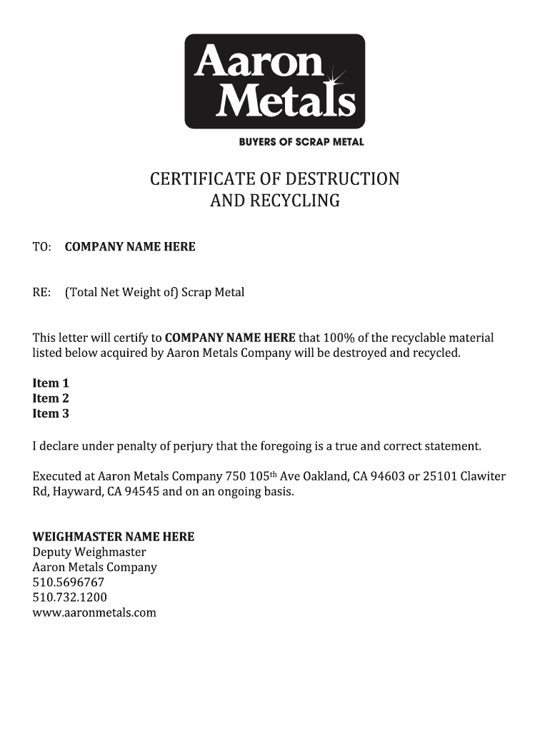 Certificate Of Destruction Template – Fill Online, Printable Throughout Free Certificate Of Destruction Template