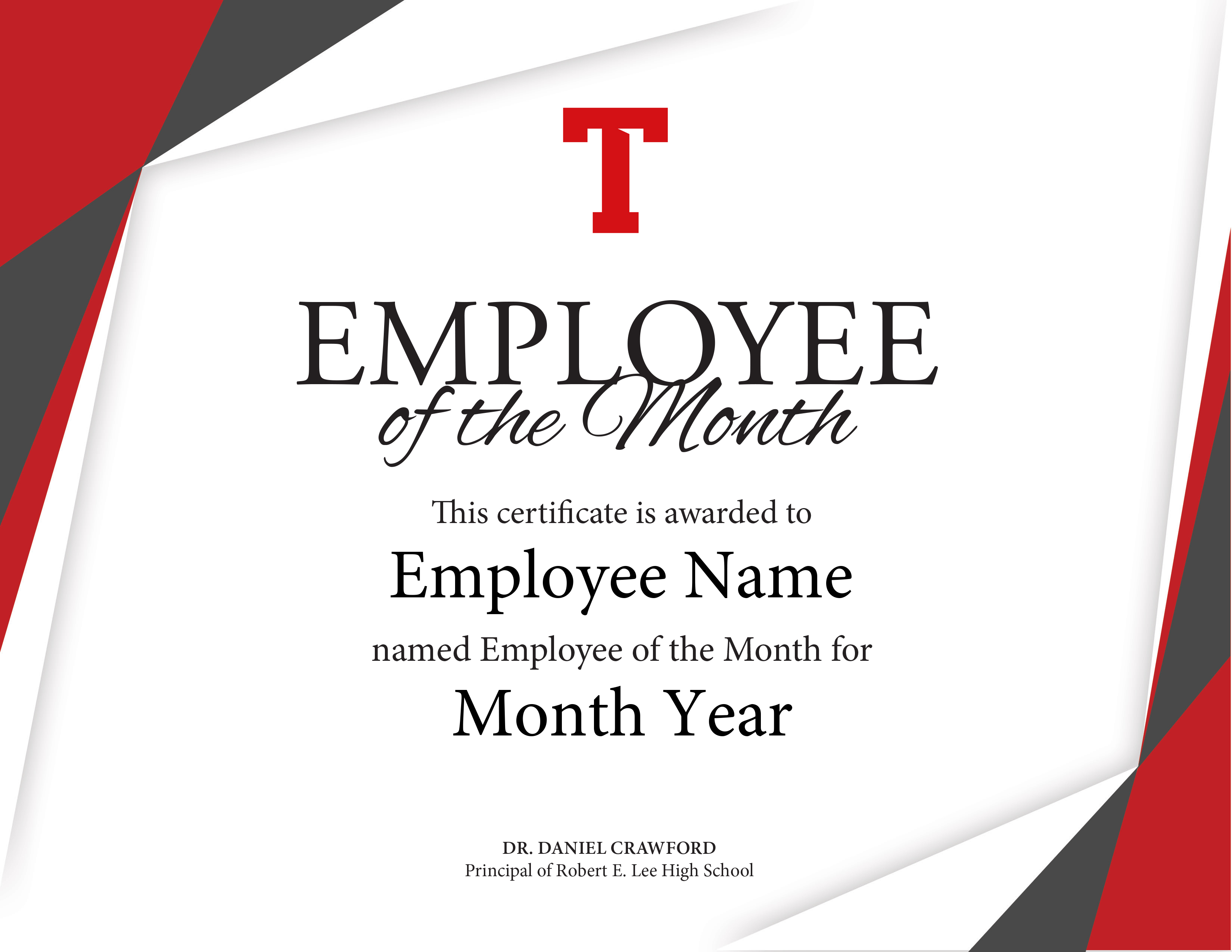 Certificate Of Employee The Month Template Brochure With Regard To Employee Of The Month Certificate Template With Picture