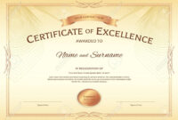 Certificate Of Excellence Template With Award Ribbon On Abstract.. throughout Award Of Excellence Certificate Template
