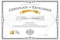 Certificate Of Excellence Template With Gold Award Ribbon On.. Pertaining To Award Of Excellence Certificate Template