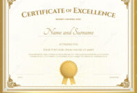 Certificate Of Excellence Template With Gold Border Stock intended for Certificate Of Excellence Template Free Download