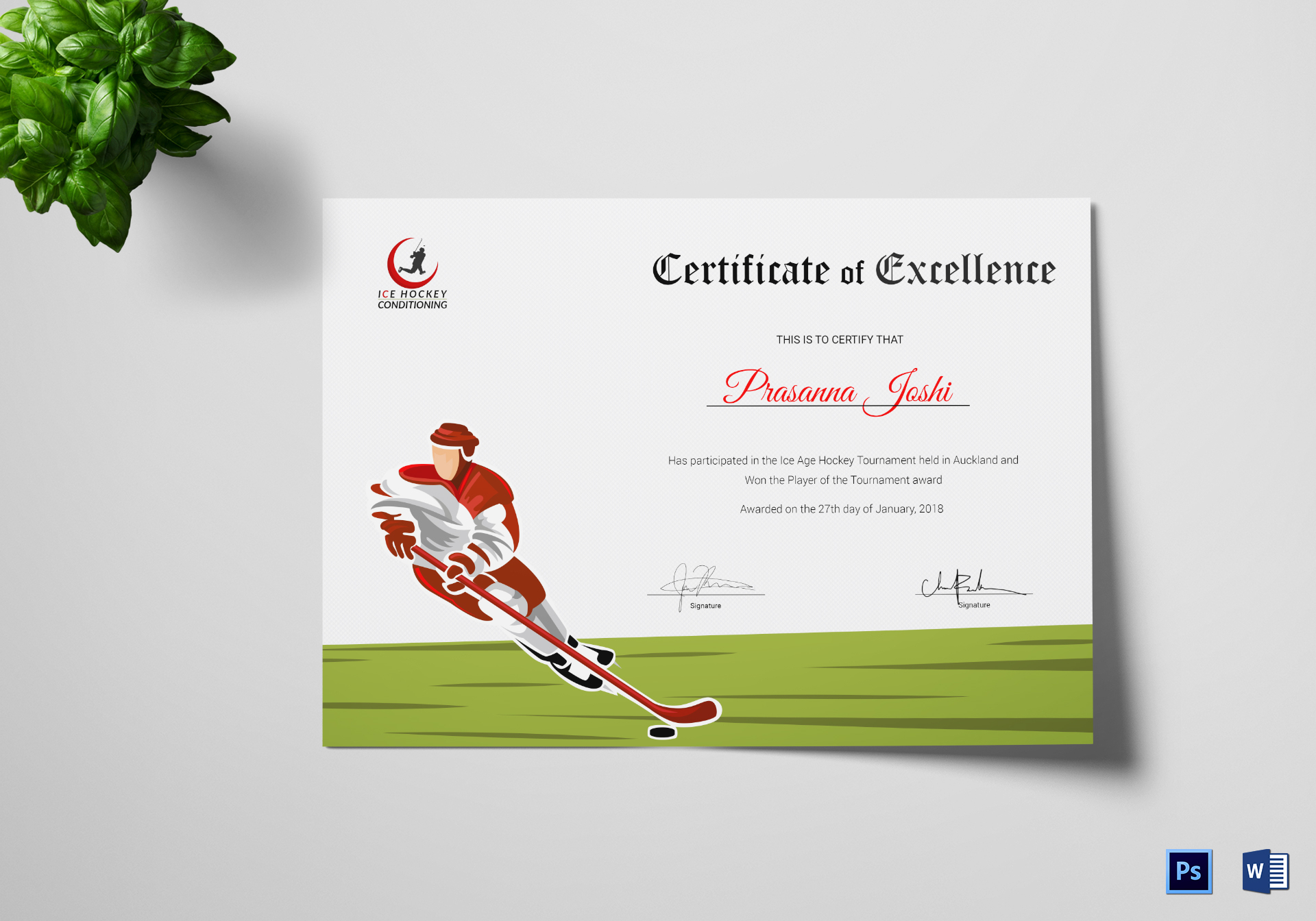 Certificate Of Hockey Performance Template Within Hockey Certificate Templates