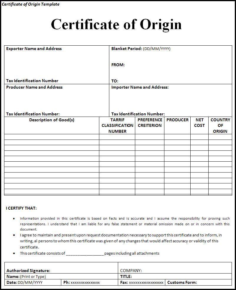 Certificate Of Origin Form | Printableform | Certificate Of Inside Certificate Of Origin Template Word
