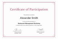 Certificate Of Participation Sample Design Samples pertaining to Certificate Of Participation In Workshop Template
