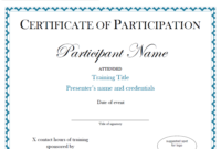 Certificate Of Participation Sample Free Download with Certificate Of Participation Template Pdf