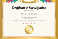 Certificate Of Participation Template With Gold intended for Certificate Of Participation Template Pdf