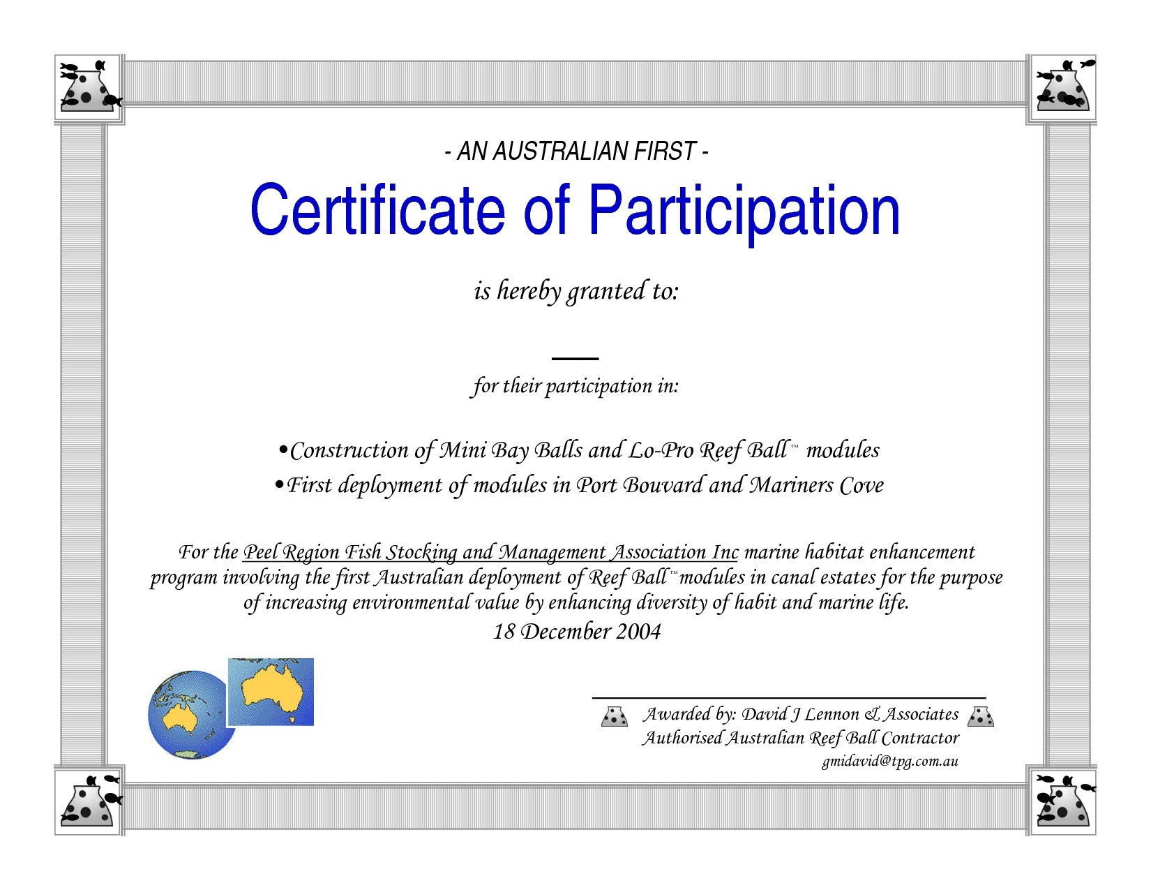 Certificate Of Participation Word Template For Certificate Of Participation Word Template