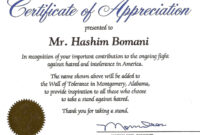 Certificate Of Thanks And Appreciation Template regarding Thanks Certificate Template