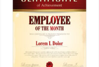 Certificate Template Employee Of The Month intended for Employee Of The Month Certificate Template With Picture