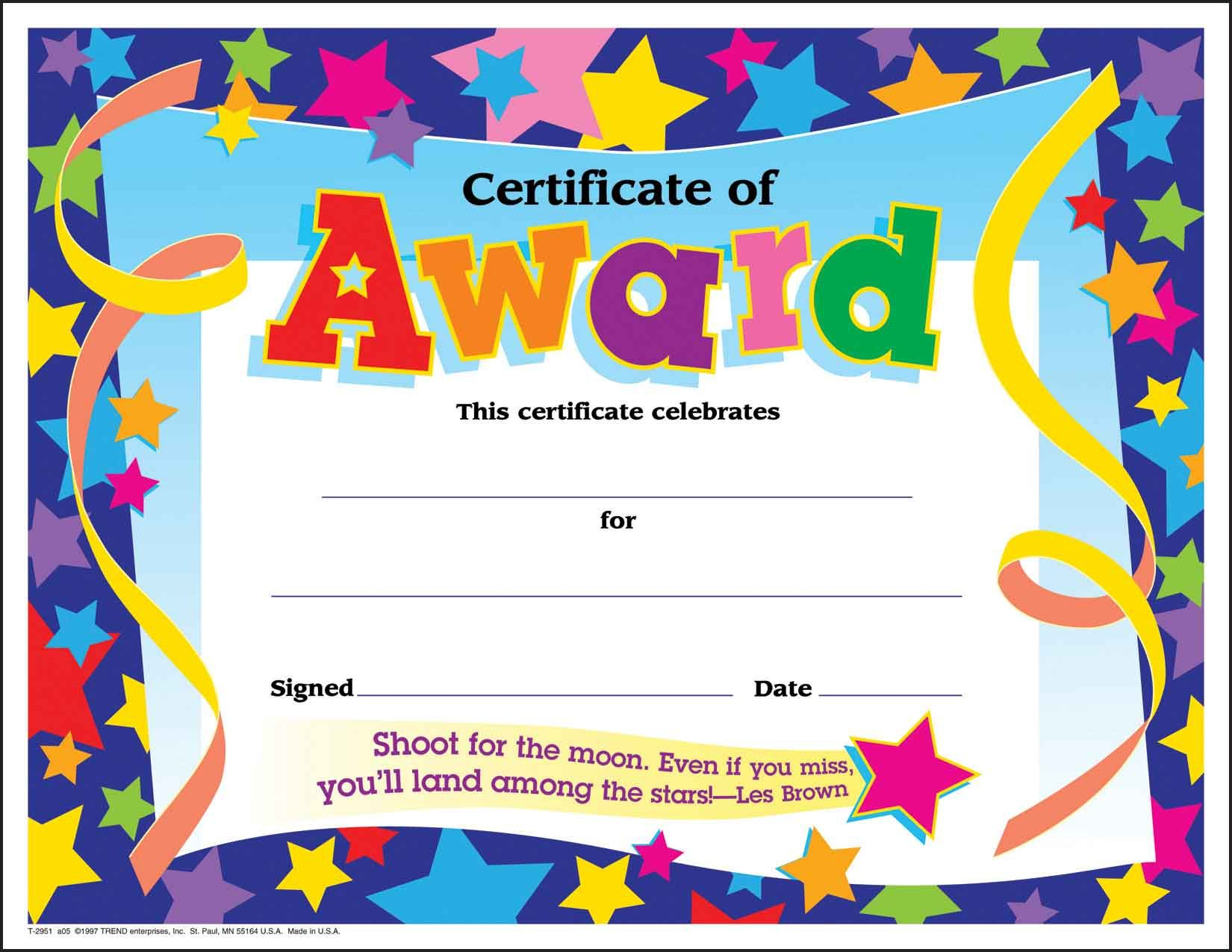 Certificate Template For Kids Free Certificate Templates Intended For Free Kids Certificate Templates