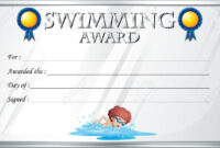 Certificate Template For Swimming Award Illustration in Swimming Certificate Templates Free