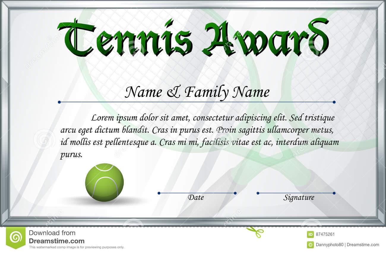 Certificate Template For Tennis Award Stock Vector Pertaining To Tennis Certificate Template Free