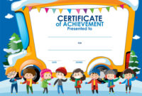 Certificate Template With Children In Winter with Free Kids Certificate Templates