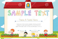 Certificate Template With Children On Background Stock intended for Small Certificate Template
