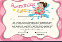 Certificate Template With Girl Swimming Illustration Stock regarding Free Swimming Certificate Templates